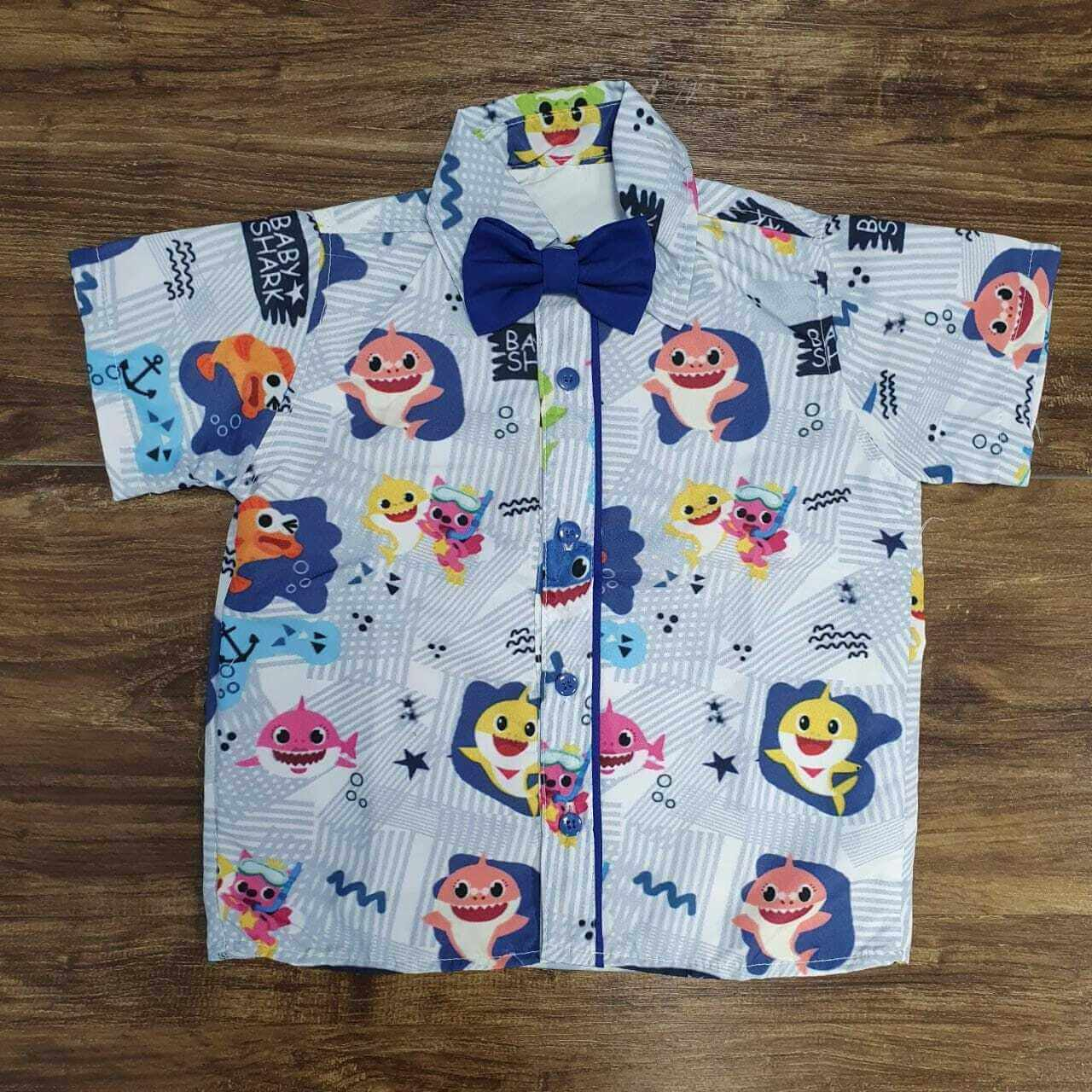 Camisa Baby Shark com Gravata Infantil