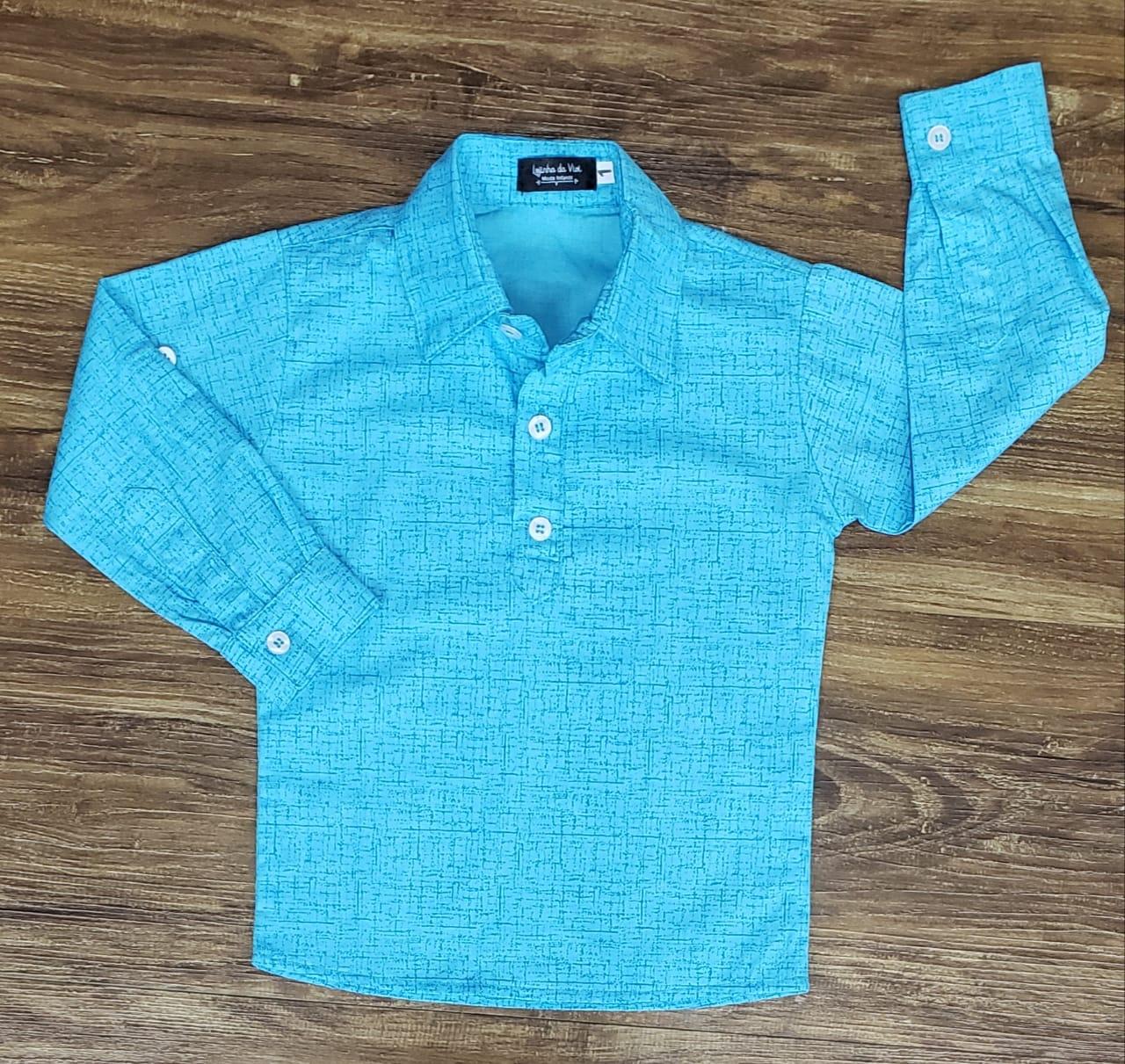 Camisa Bata Manga Longa Azul Claro