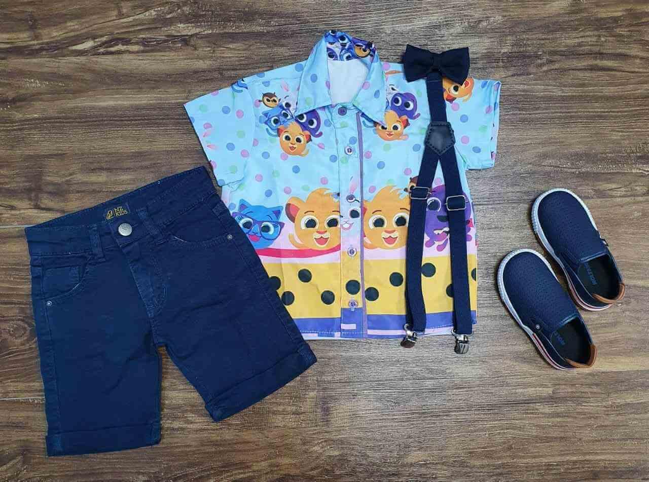 Camisa Bolofofos Azul com Bermuda Jeans Infantil