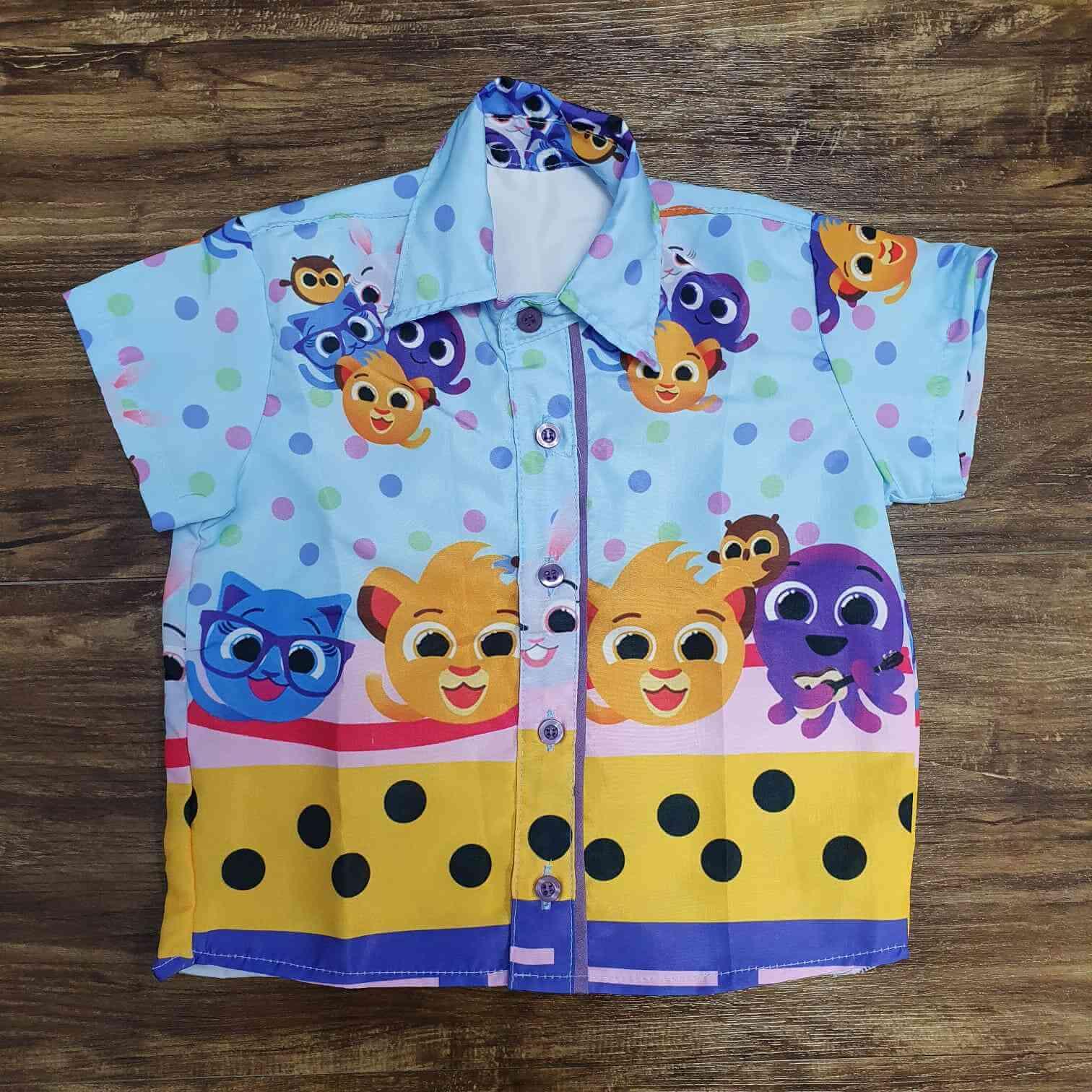Camisa Bolofofos Azul Infantil