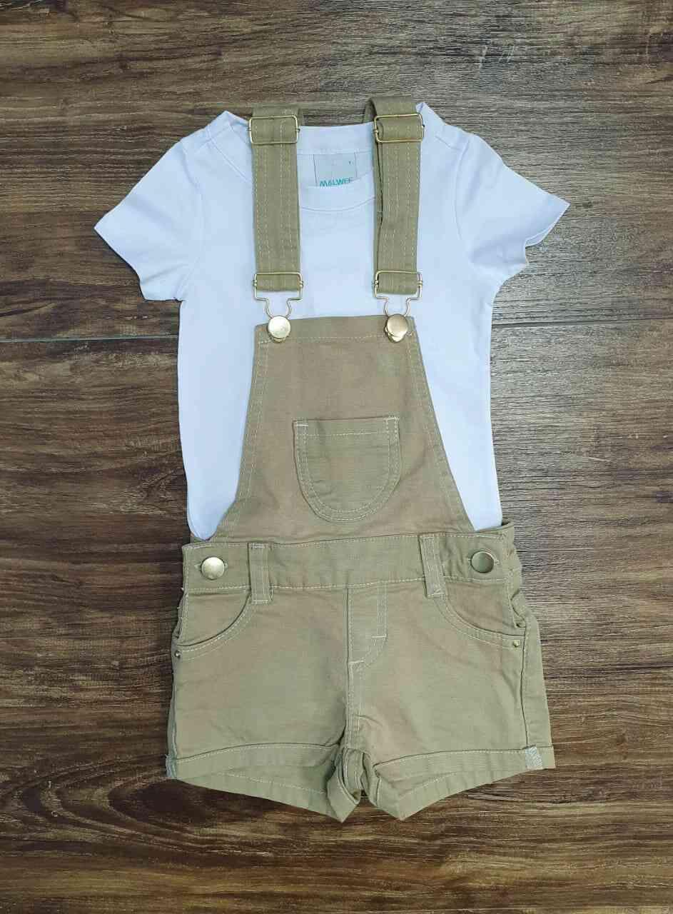 Camisa Branca com Jardineira Infantil