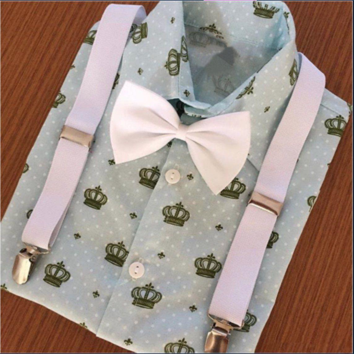 Camisa Coroa Azul Claro com Suspensório e Gravata