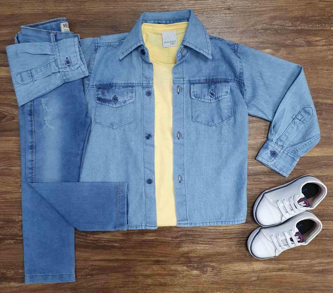 Camisa Jeans com Camiseta Amarela e Calça Infantil