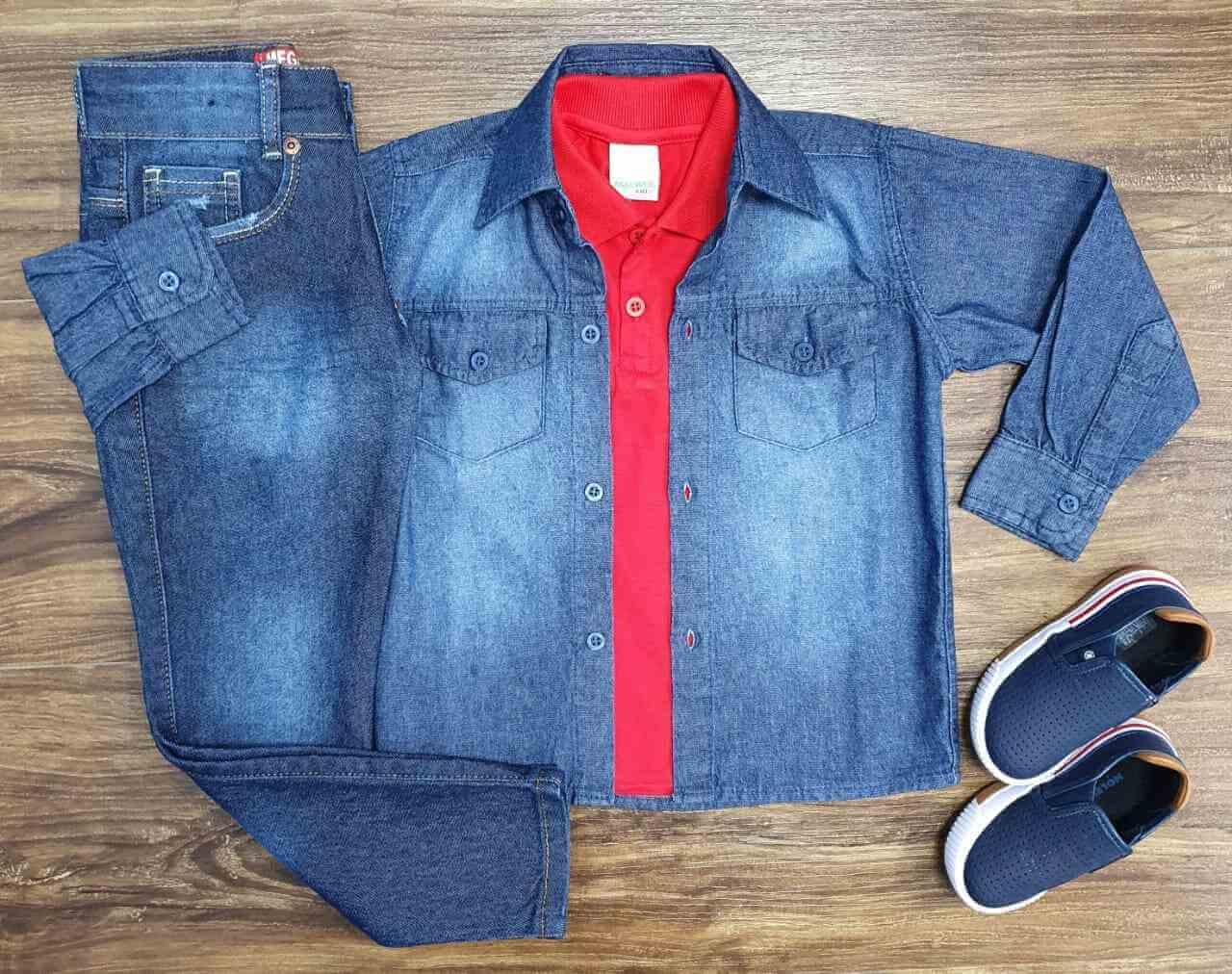 Camisa Jeans com Polo Vermelha e Calça Infantil