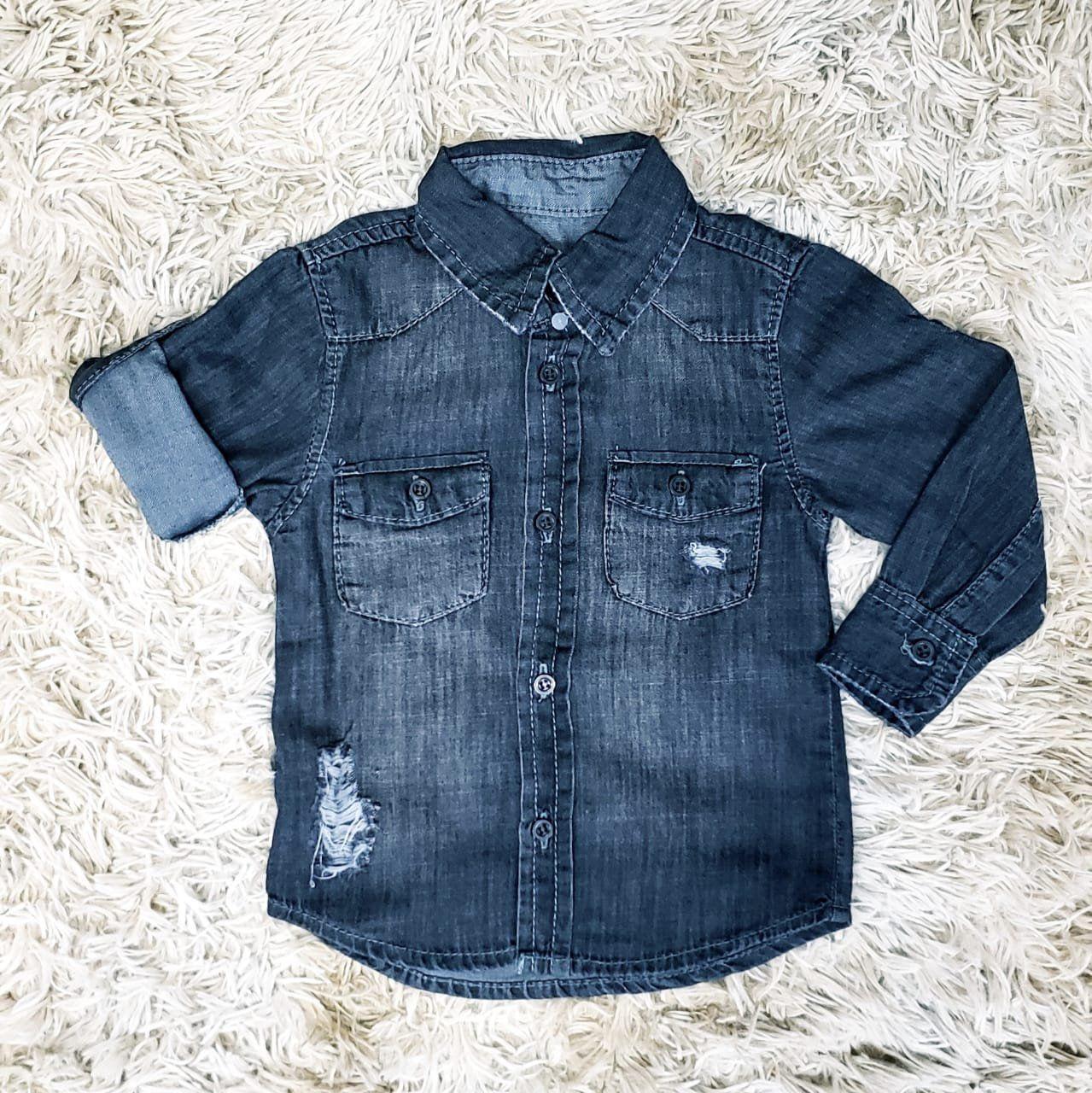 Camisa Jeans Preta Infantil