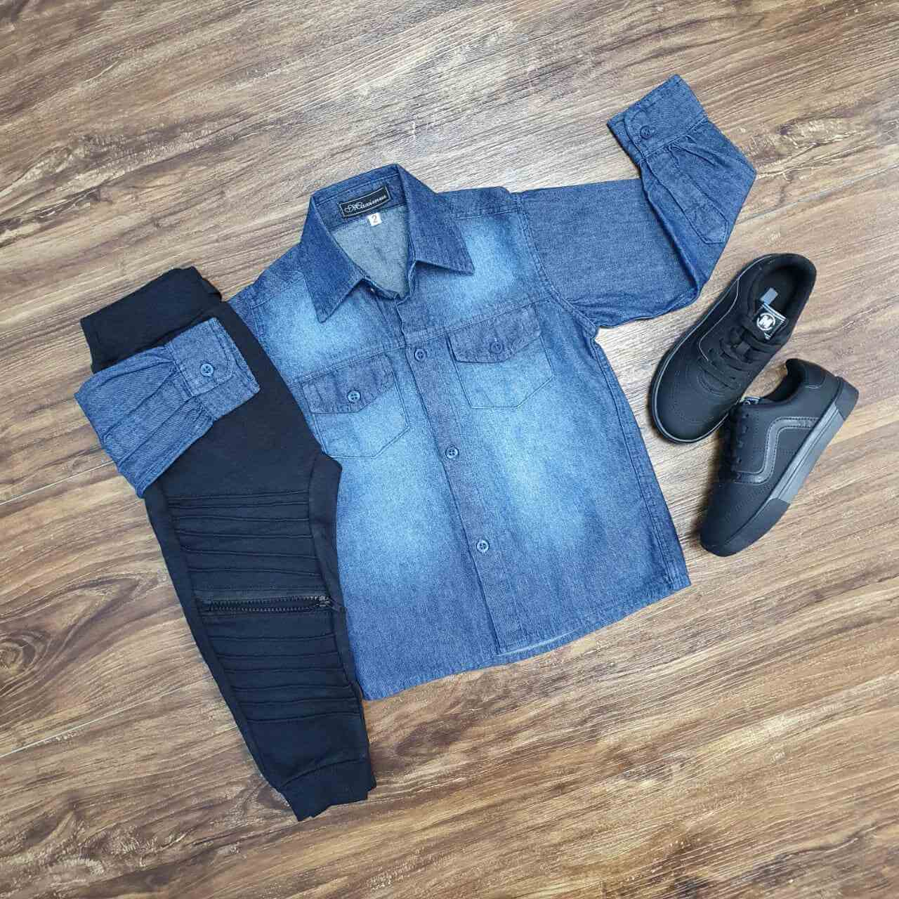 Camisa Jeans Manga Longa com Calça Moletom Infantil