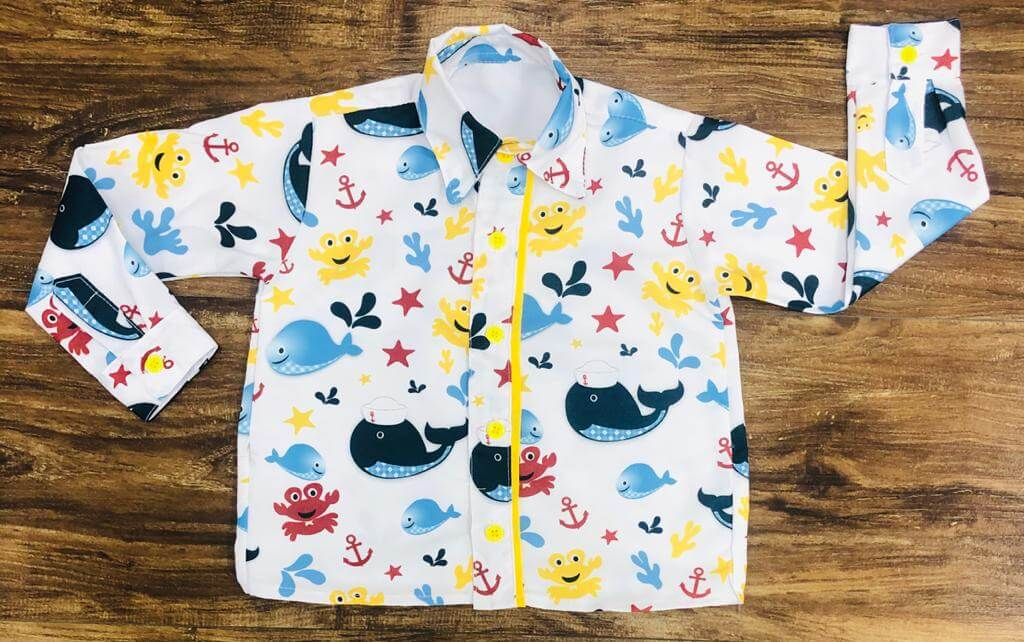 Camisa Manga Longa Fundo do Mar Branco Infantil