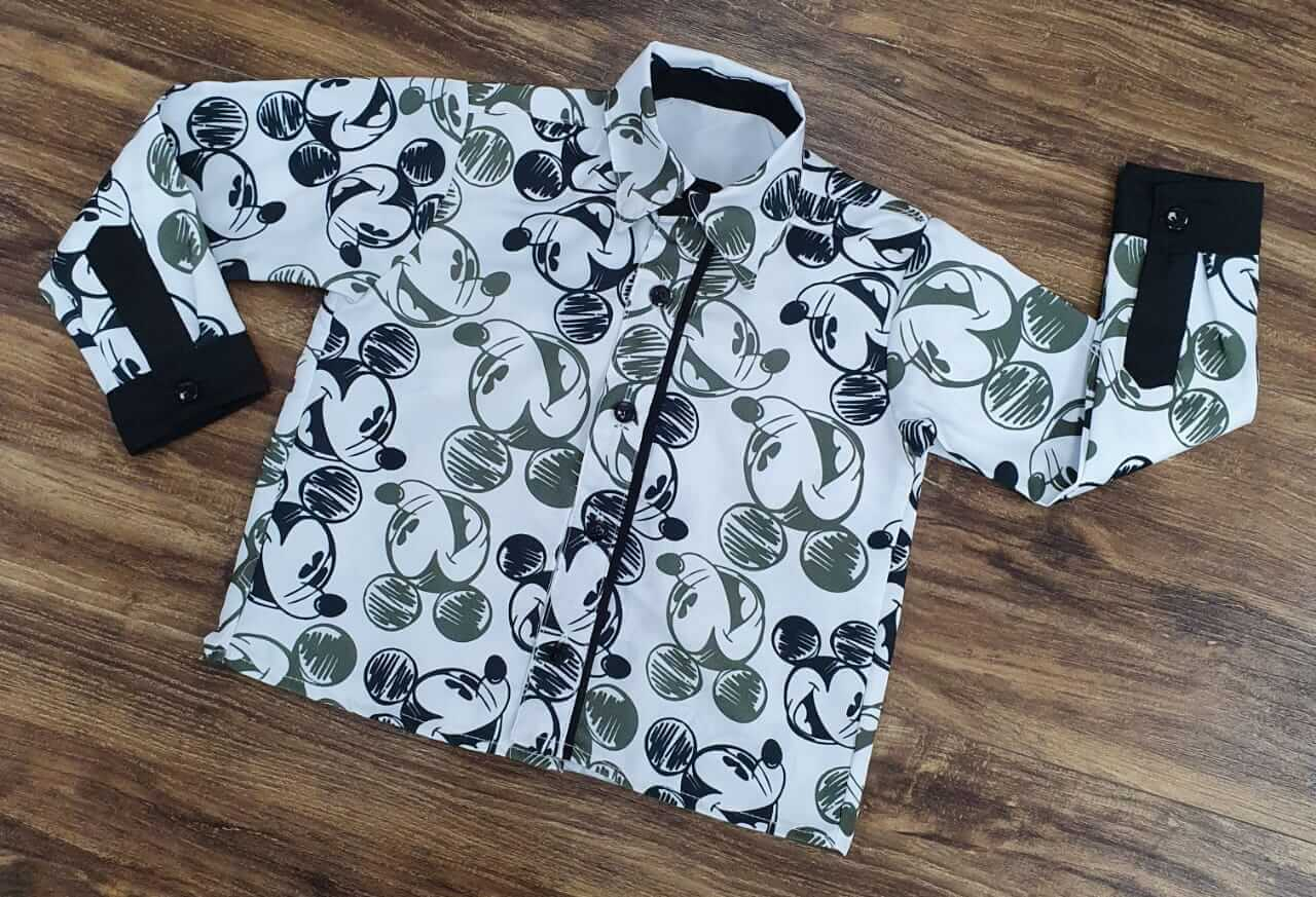 Camisa Manga Longa Mickey Opaca Infantil