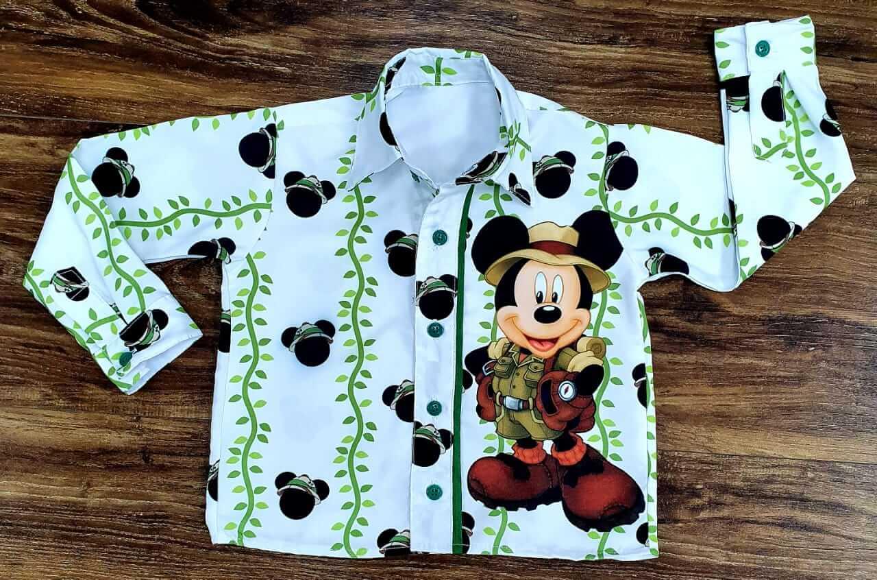 Camisa Manga Longa Mickey Safari