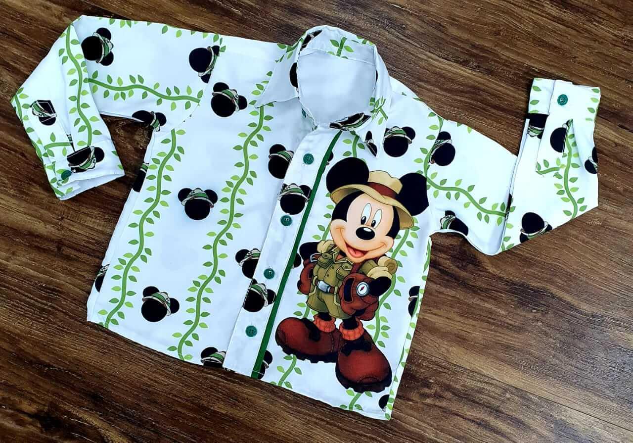 Camisa Manga Longa Mickey Safari Branca Infantil