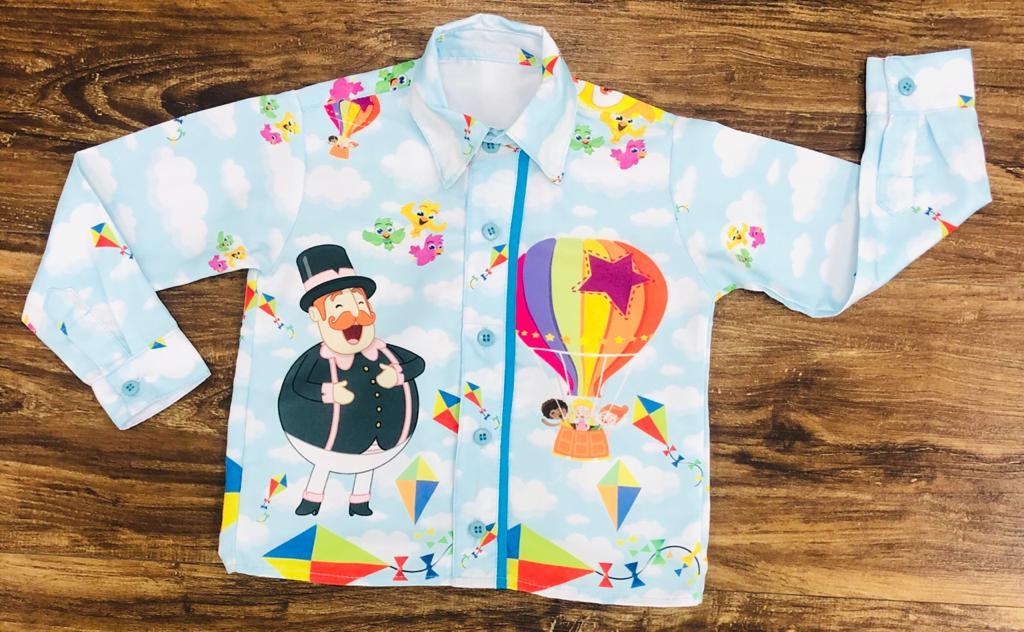 Camisa Longa Mundo Bita Balão Infantil