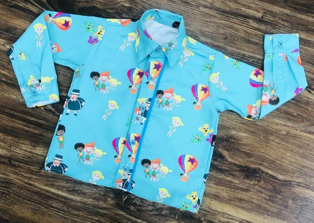 Camisa Longa Mundo Bita Verde Água Infantil