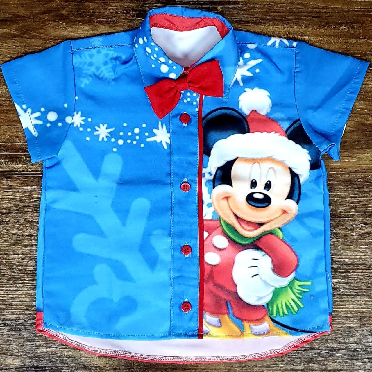 Camisa Mickey Natal Com Gravata