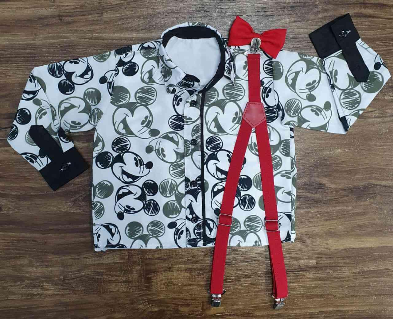 Camisa Mickey Opaca Longa com Suspensório e Gravata Infantil