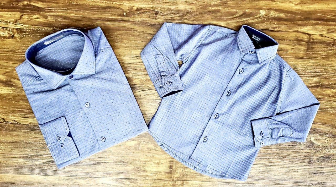 Camisa Pai e Filho Manga Longa Azul Clara
