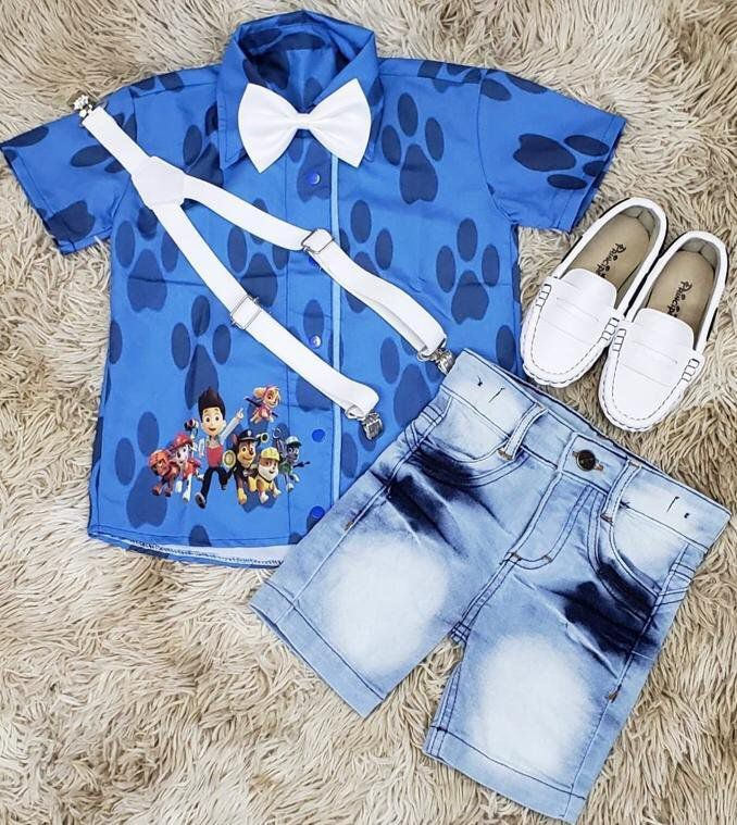 Bermuda Jeans com Suspensório e  Camisa Patrulha Canina com Gravata