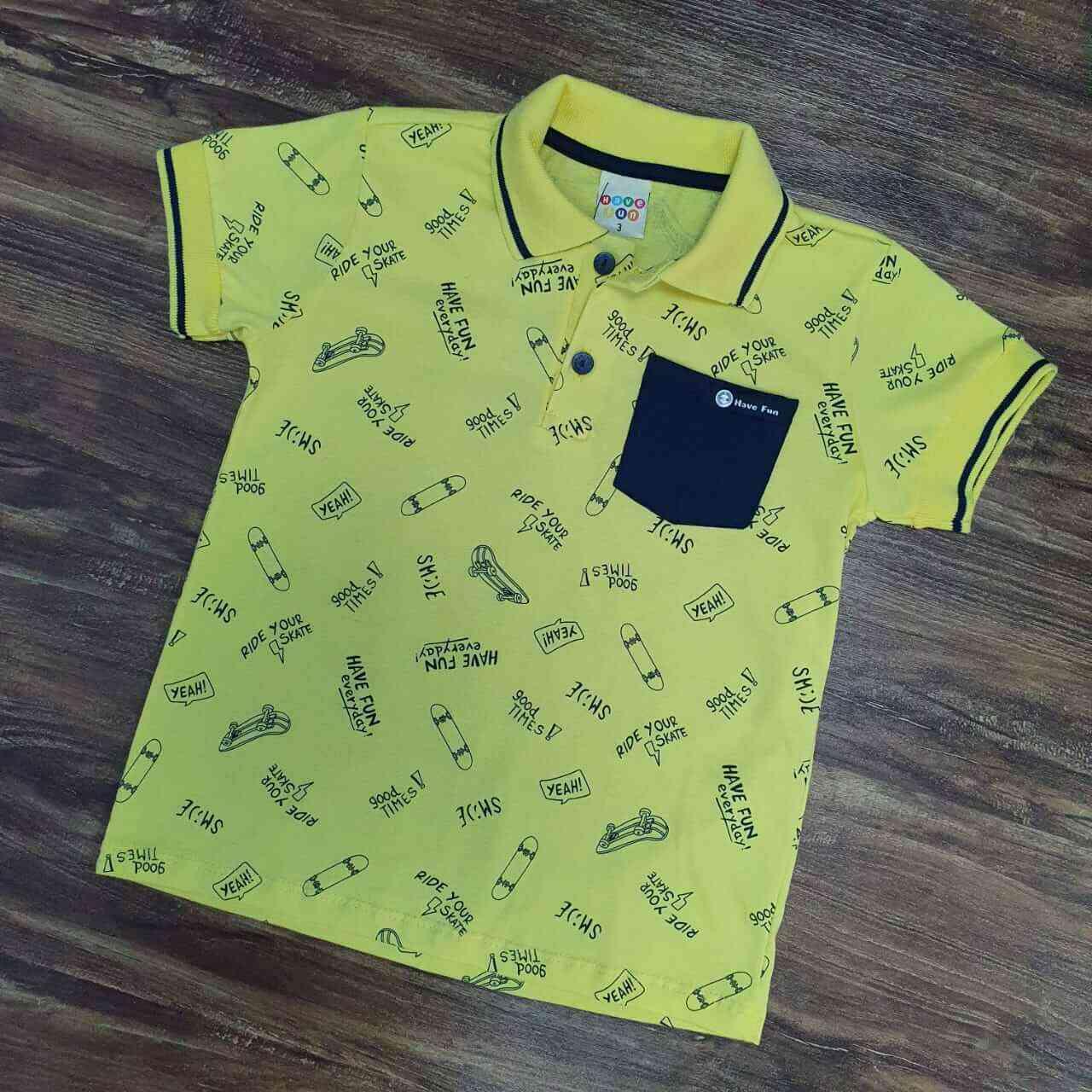 Camisa Polo Amarela com Bolso Infantil