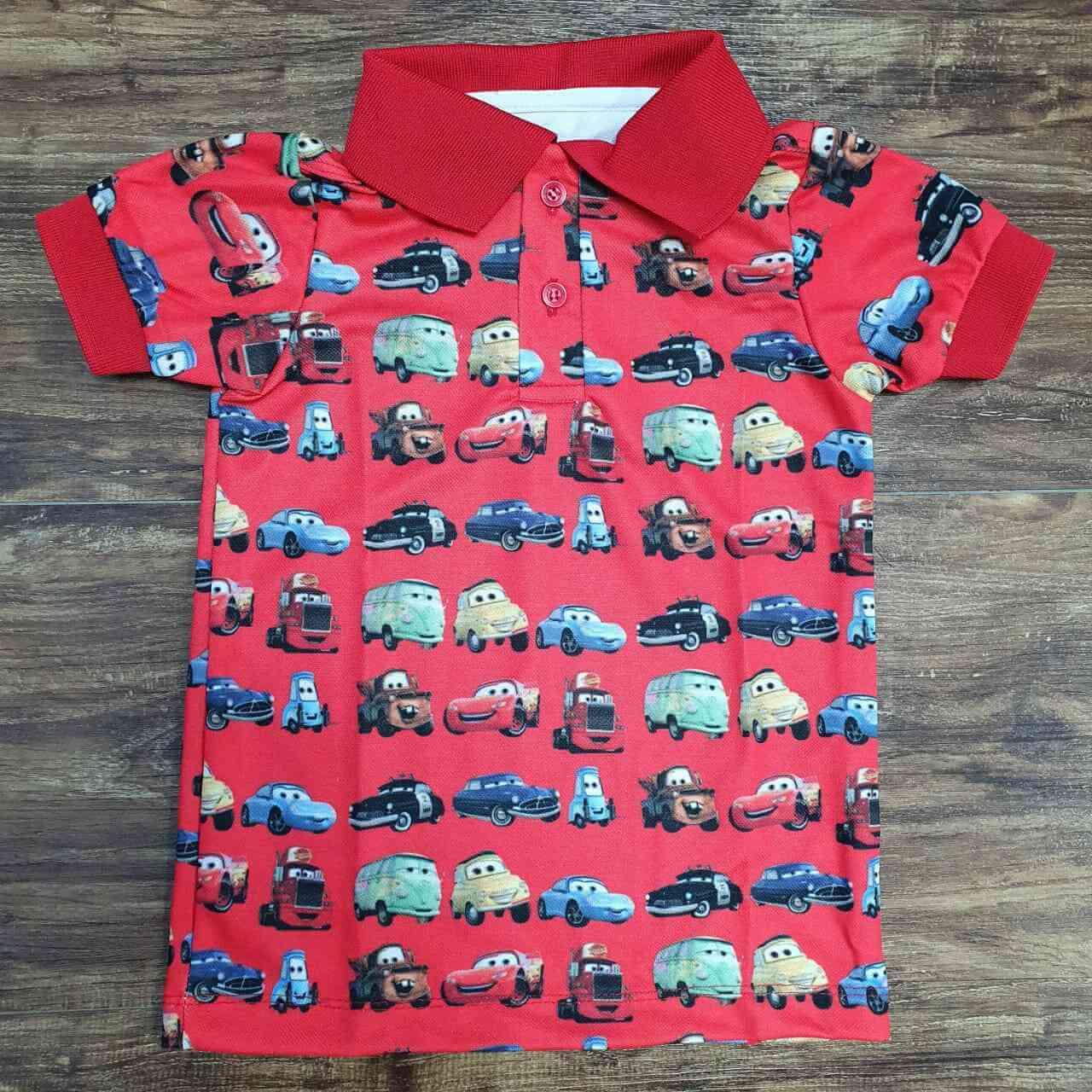 Camisa Polo Carros Infantil