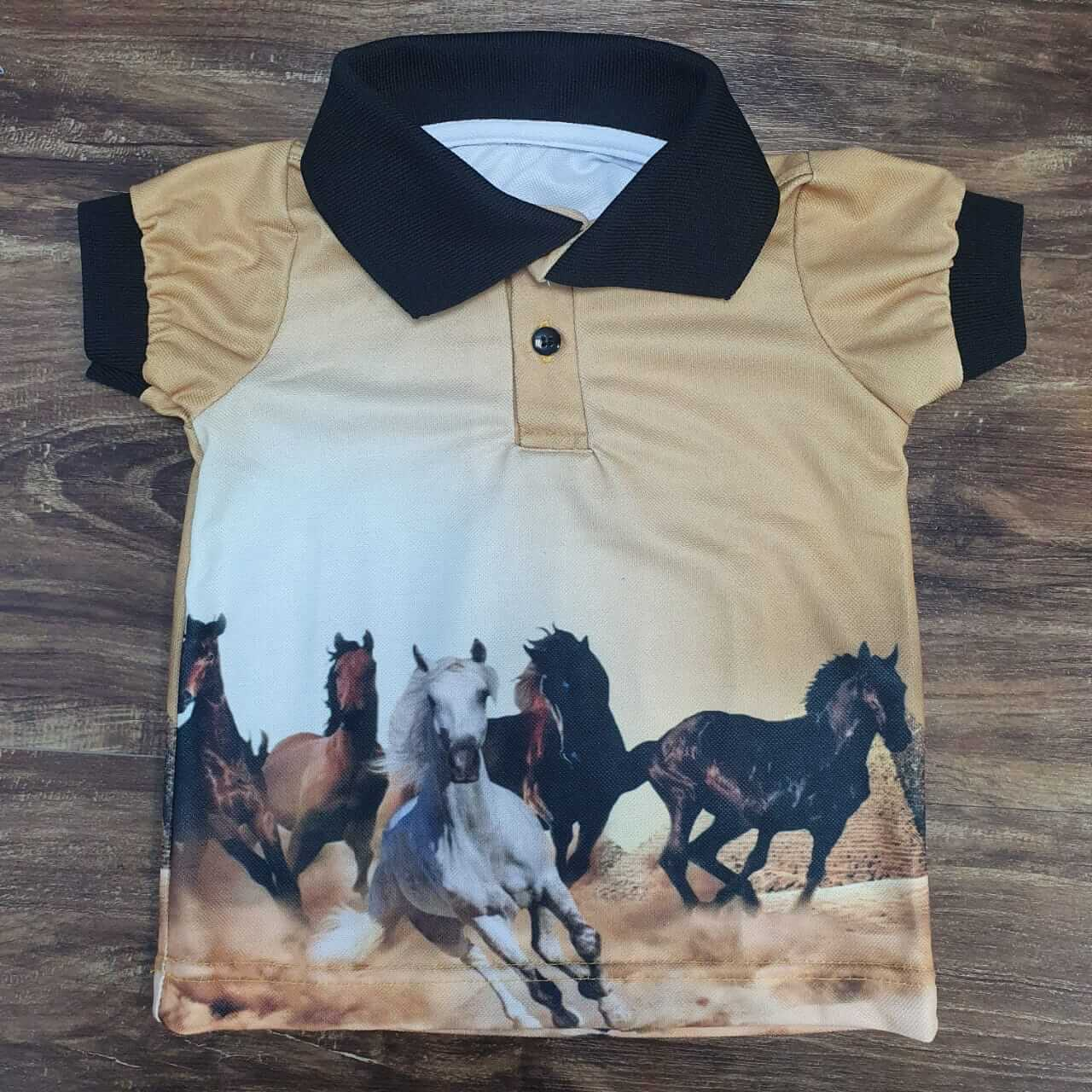 Camisa Polo Cavalos Infantil