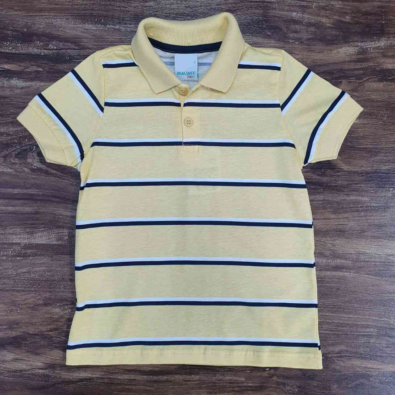Polo Listrada Amarela Infantil