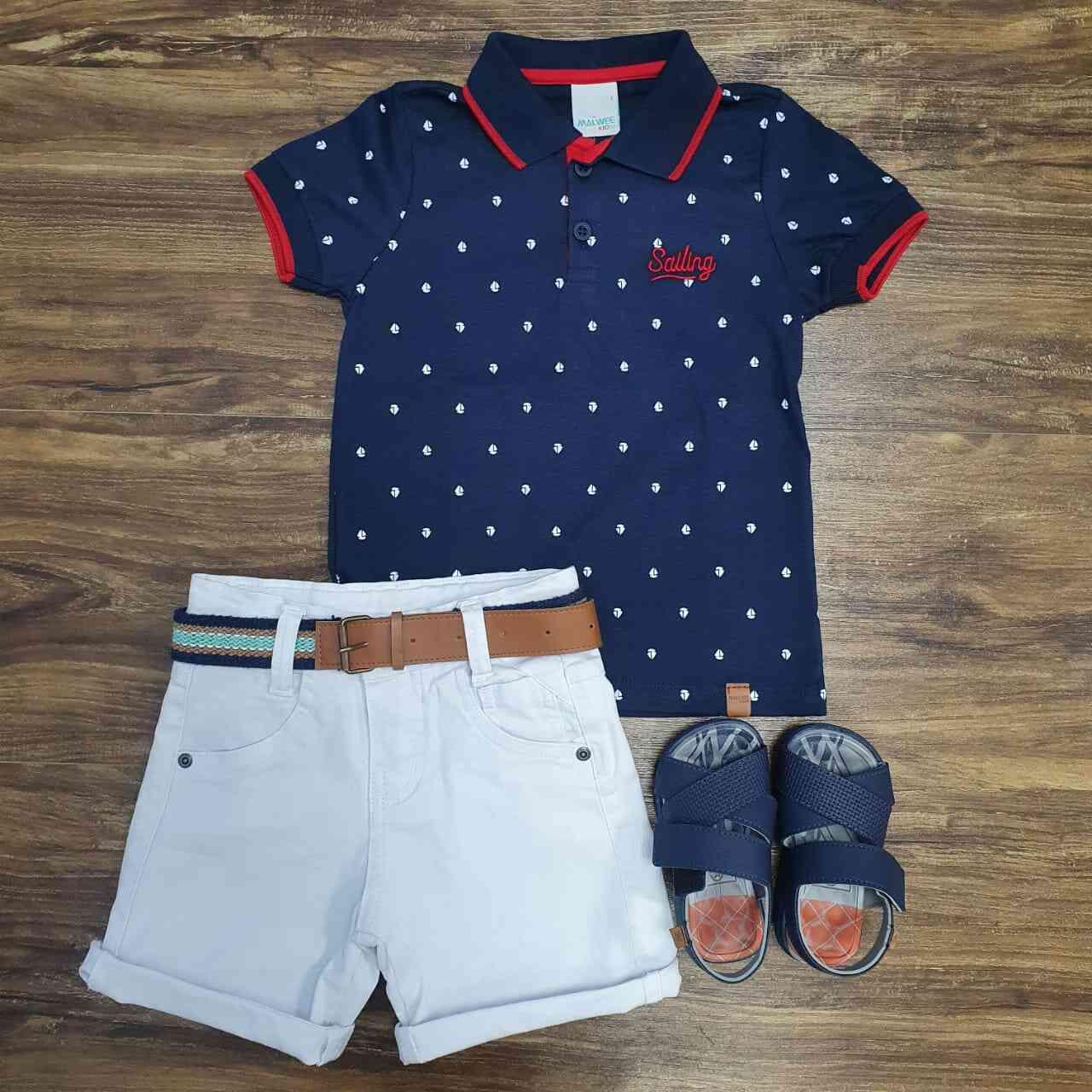 Camisa Polo Sailing com Bermuda Infantil