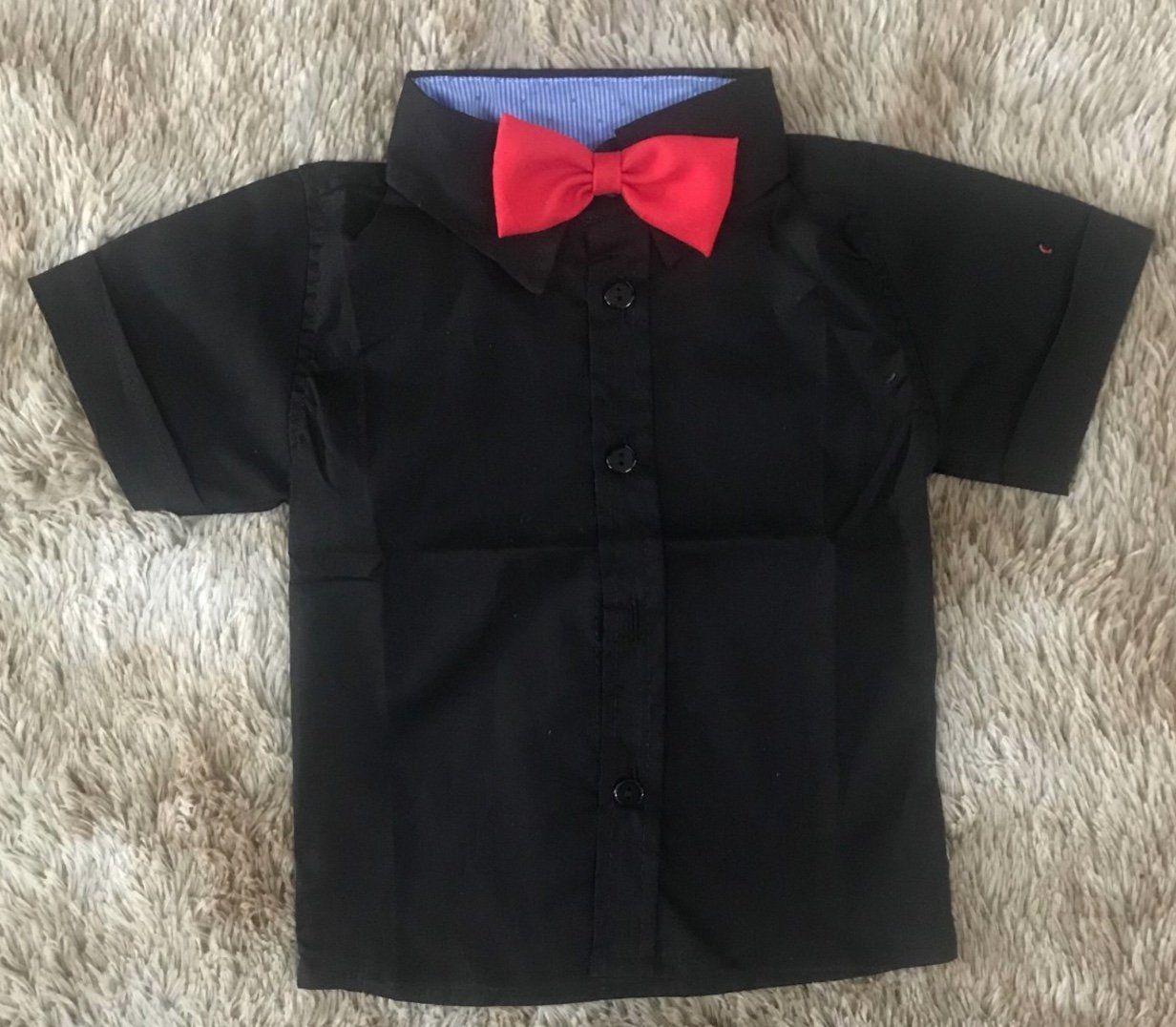 Camisa Preto com Gravata Borboleta