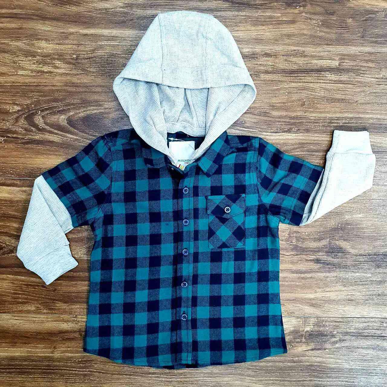 Camisa Xadrez Verde com Capuz Infantil
