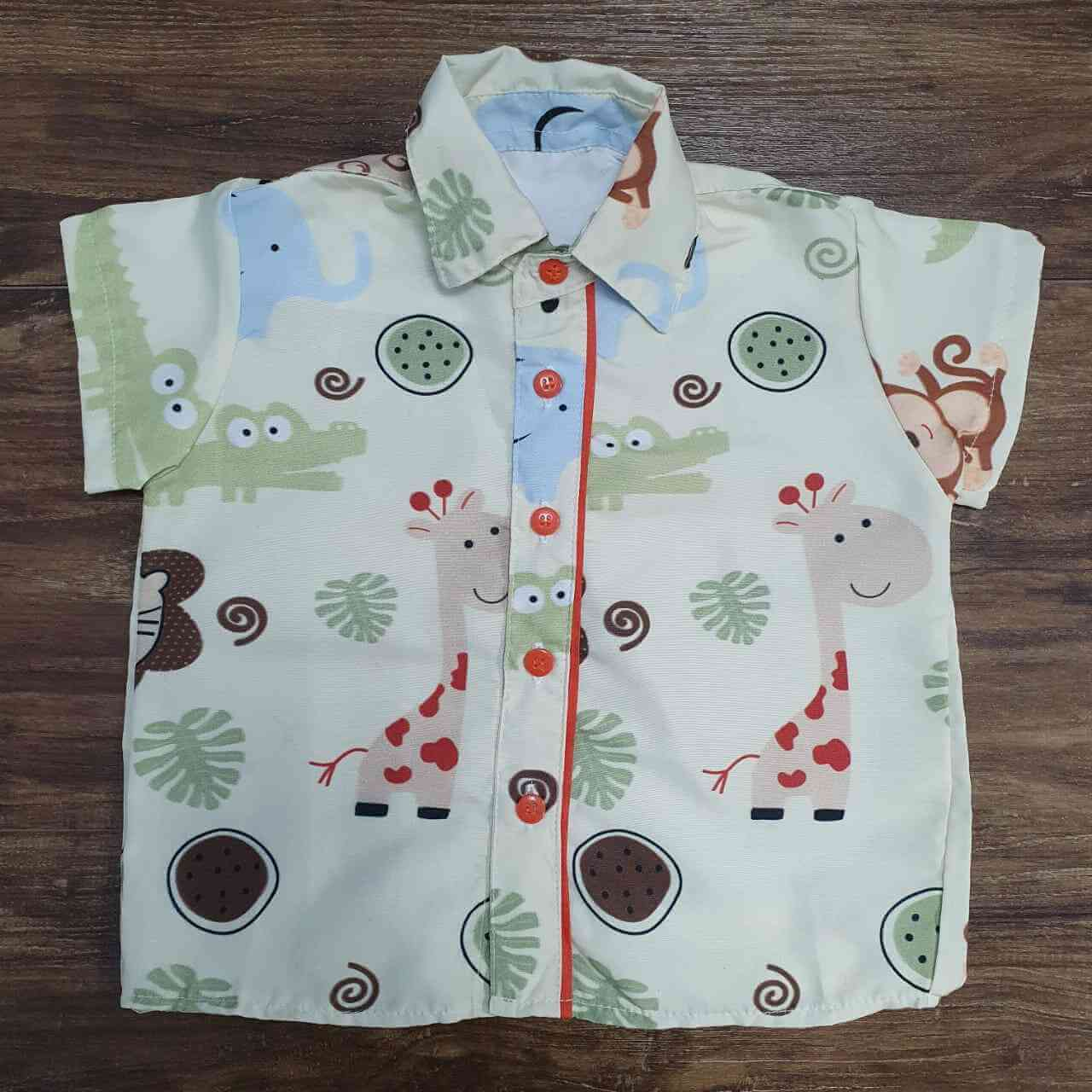 Camisa Safari Bege Infantil