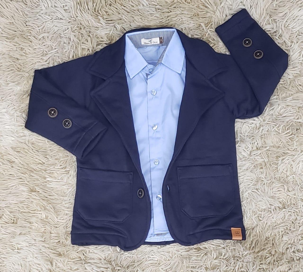 Camisa Social Azul com Blazer