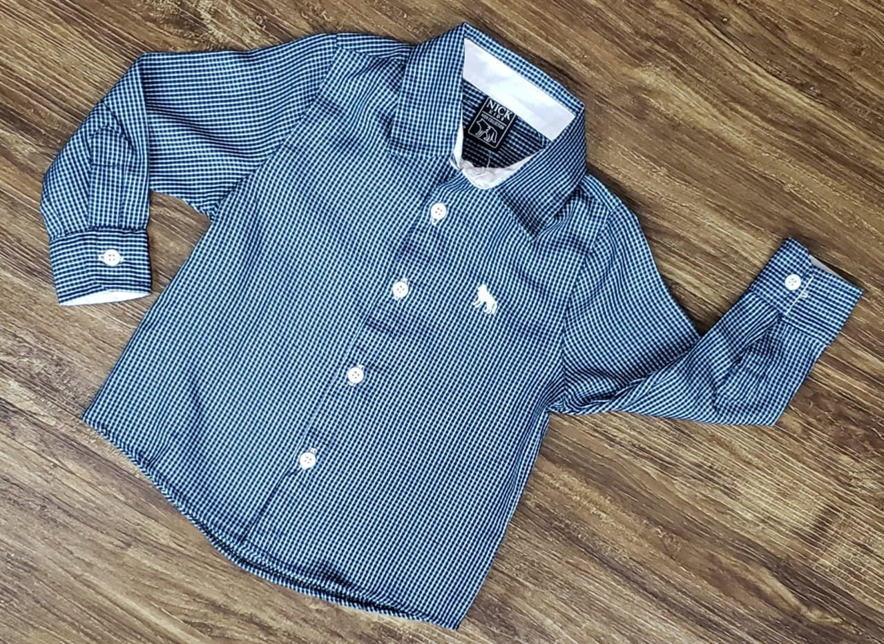 Camisa Social Azul Manga Longa