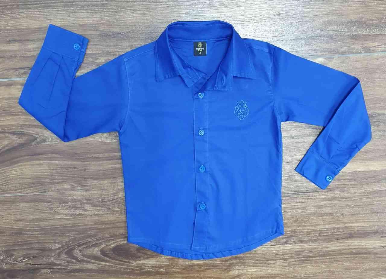 Camisa Social Azul Manga Longa Infantil