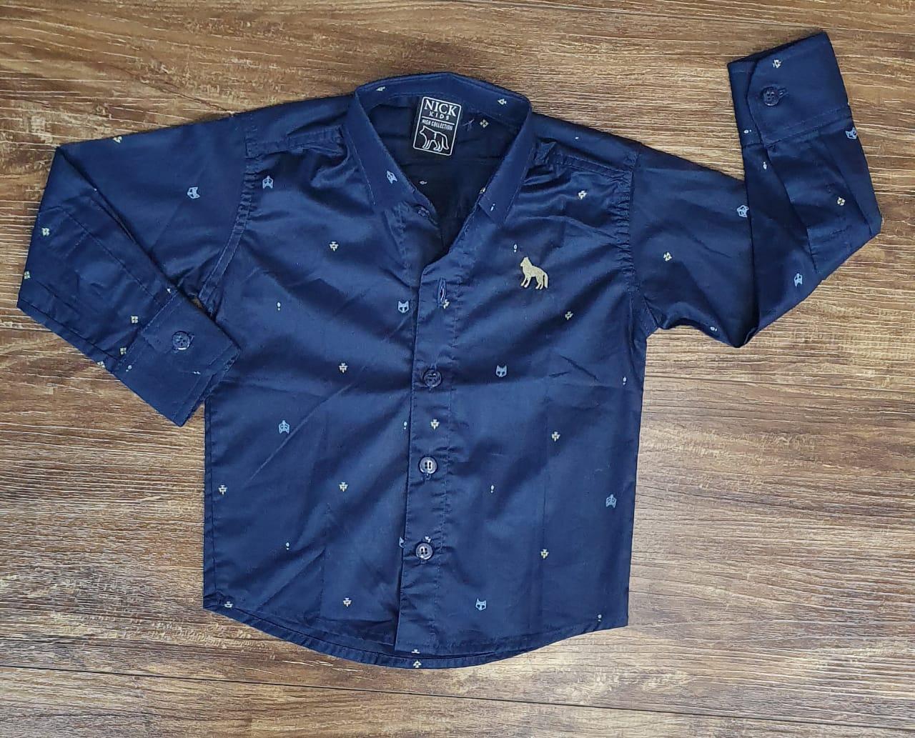 Camisa Social Azul Marinho Manga Longa