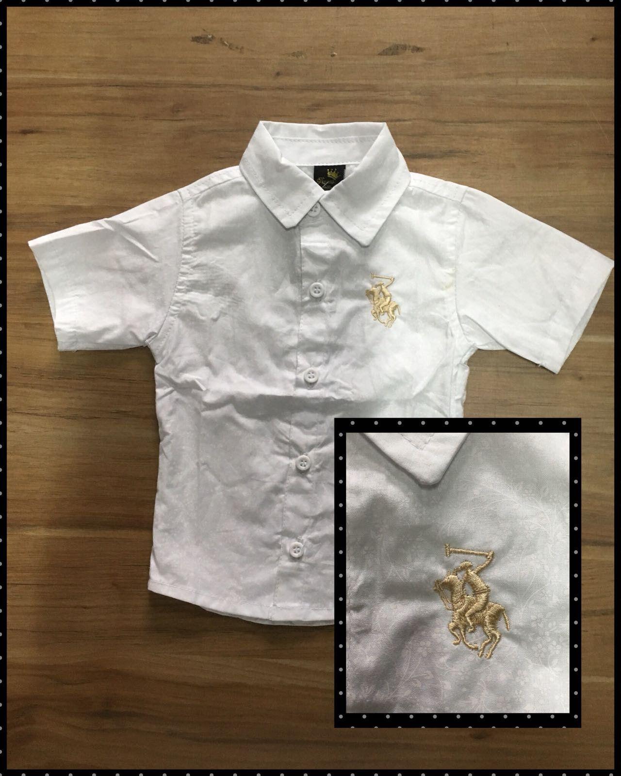 Camisa Social Branca Florida com Símbolo Bordado