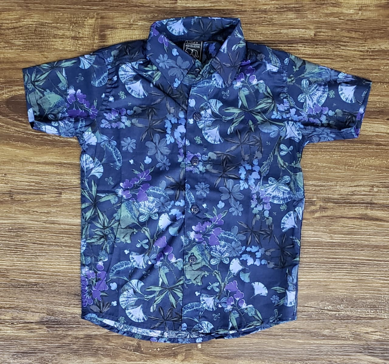 Camisa Social Floral Azul Infantil