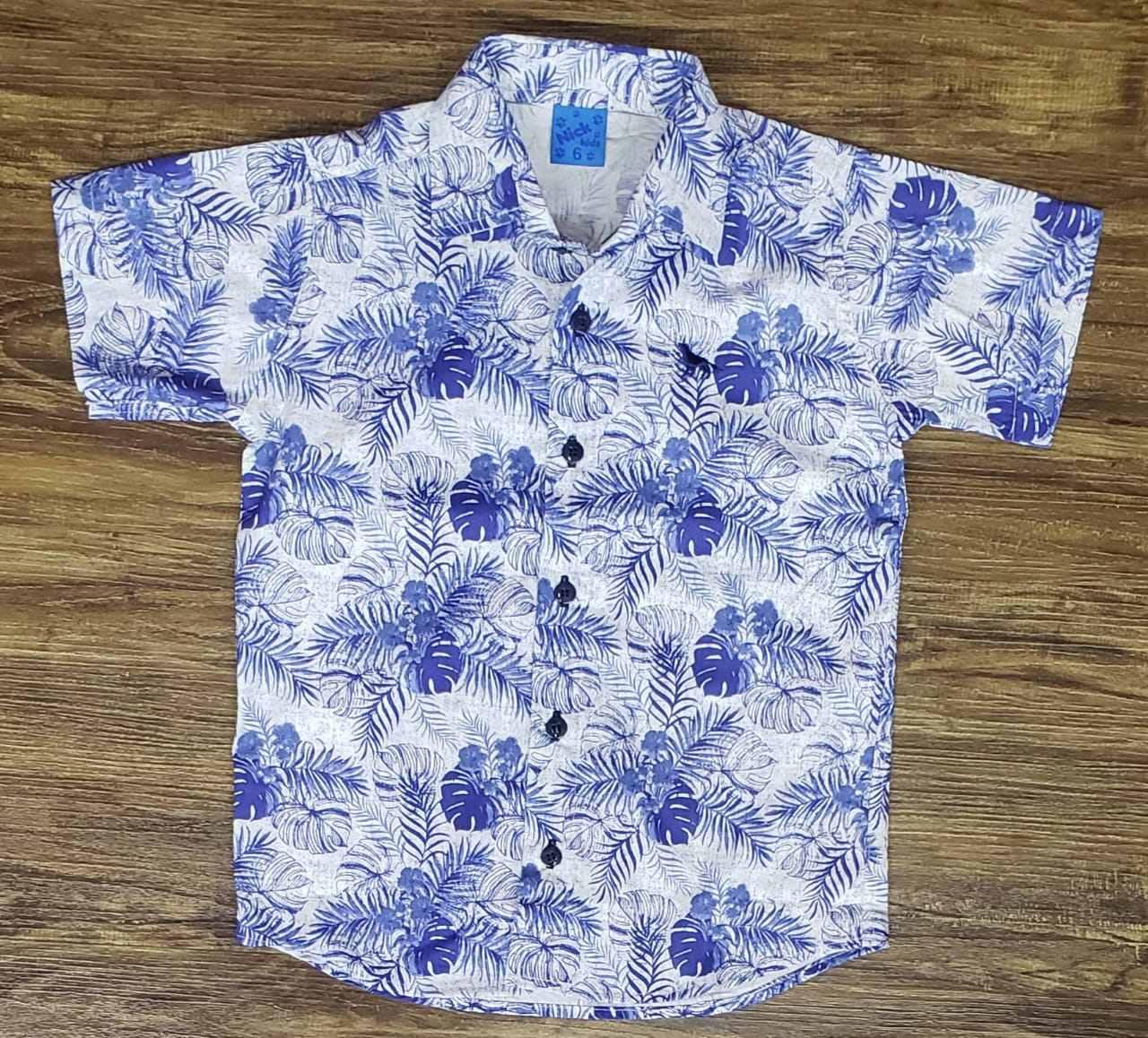 Camisa Social Floral Azul Clara Infantil