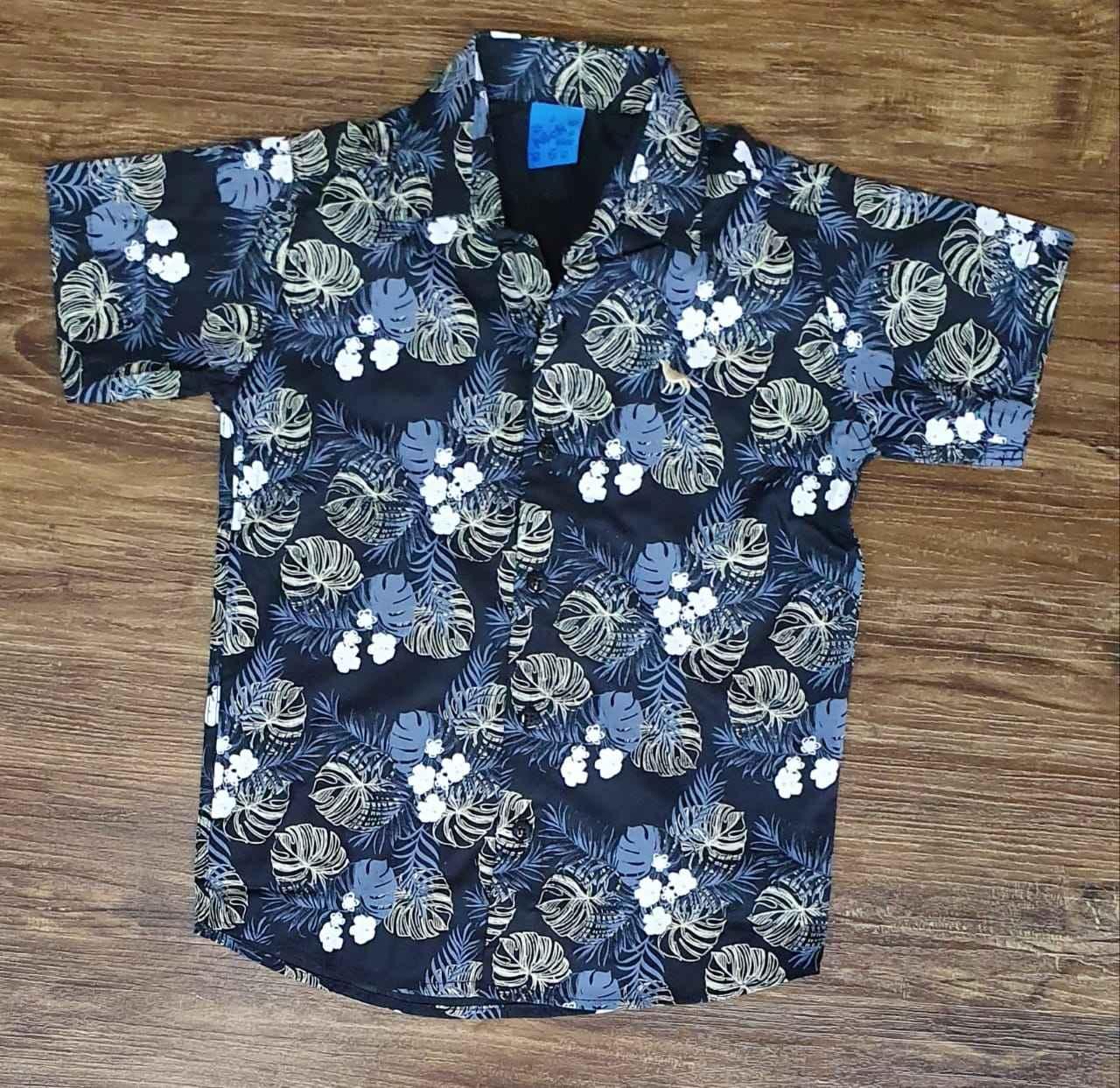 Camisa Social Floral Azul Marinho Infantil