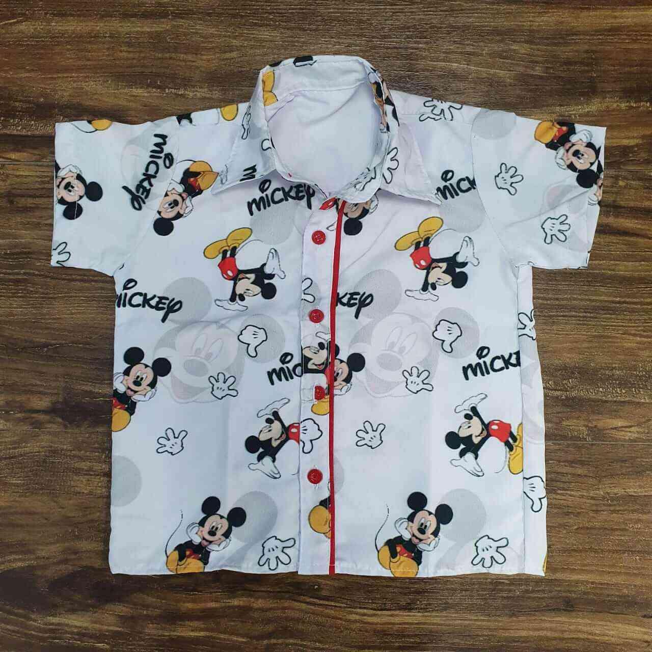 Camisa Mickey Branca Infantil