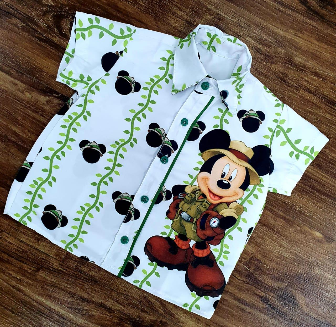 Camisa Mickey Safari Branca Infantil