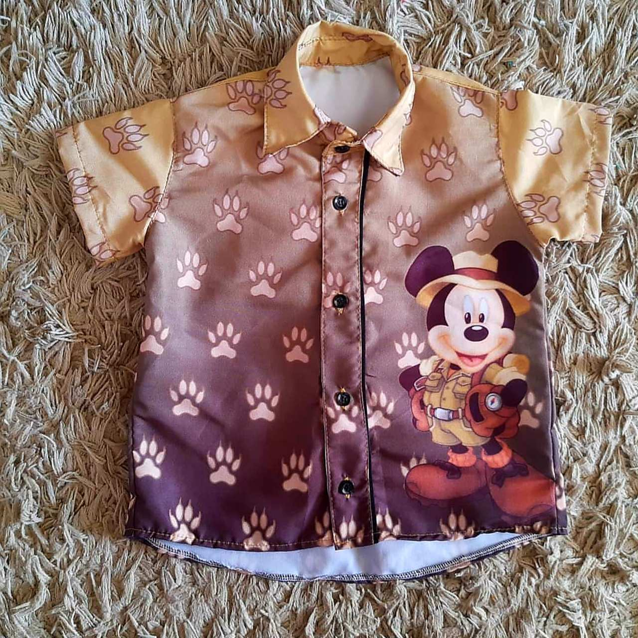 Camisa Social Mickey Safari