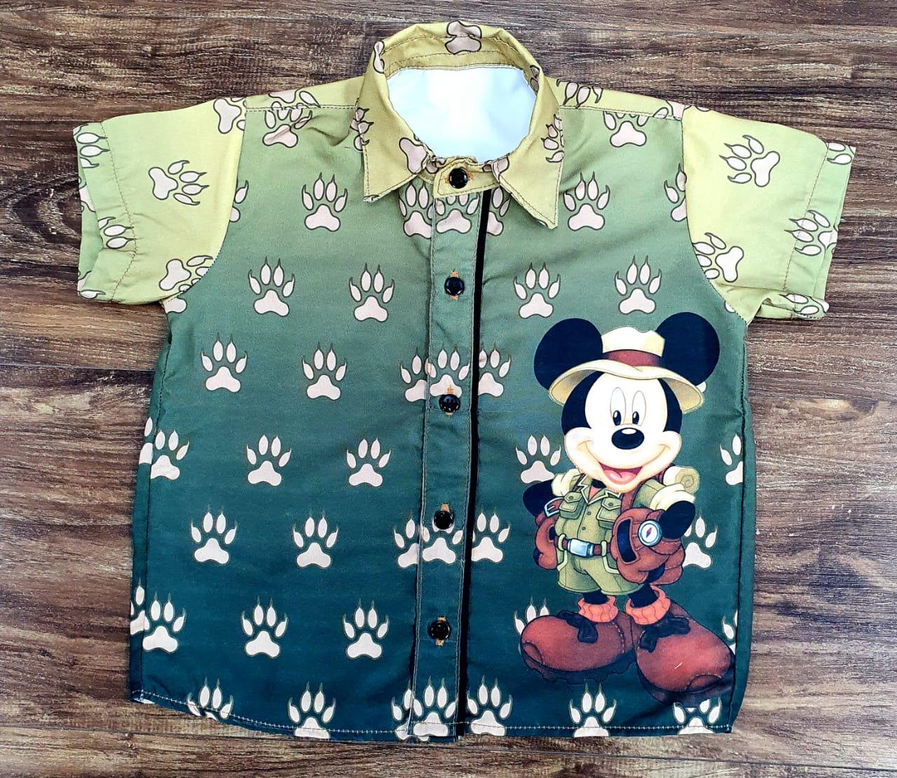 Camisa Mickey Safari Musgo Infantil
