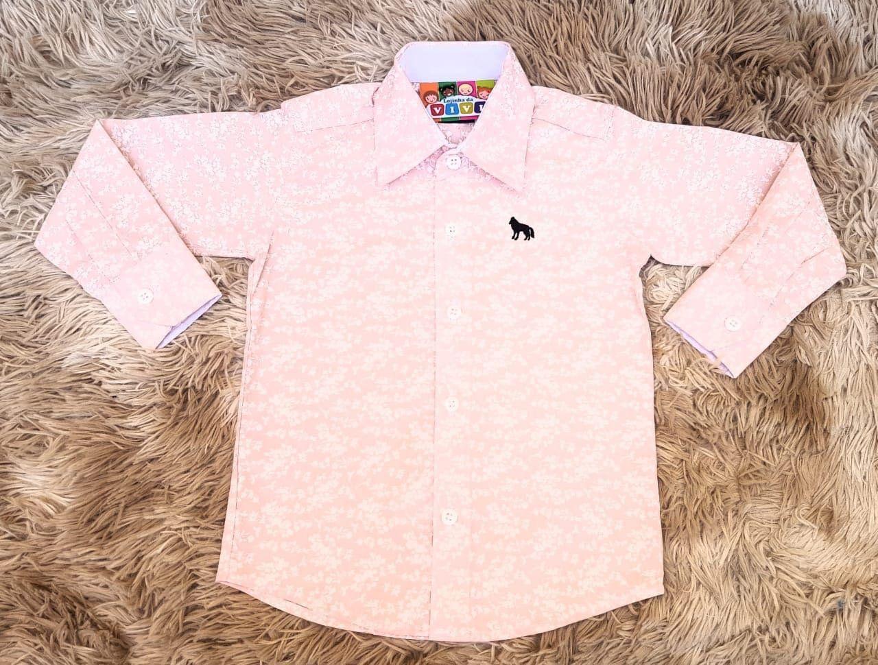 Camisa Social Nick Kids Manga Longa Rosa Estampada