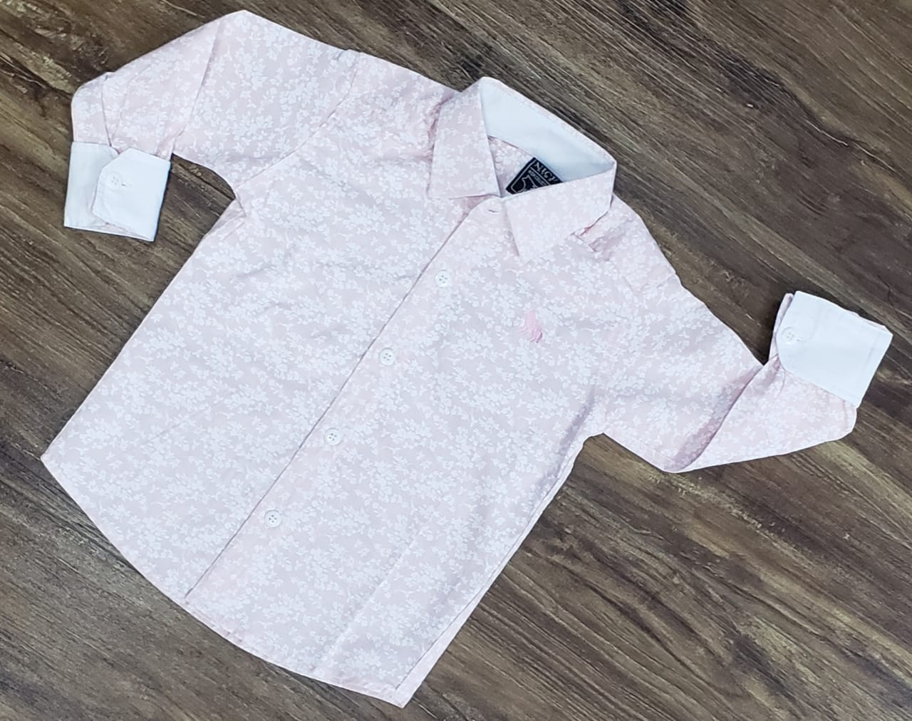 Camisa Social Rosa Manga Longa