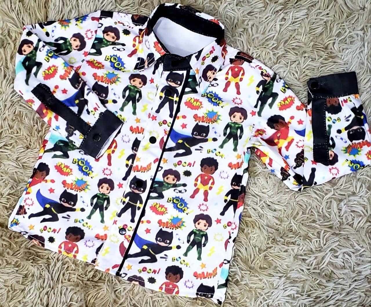 Camisa Super Heróis Manga Longa