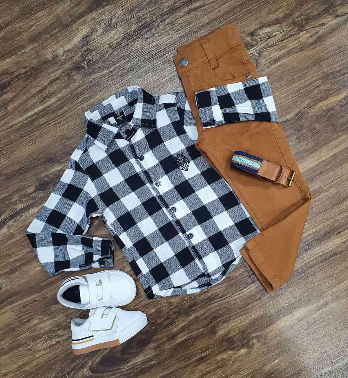 Camisa Xadrez com Calça Infantil