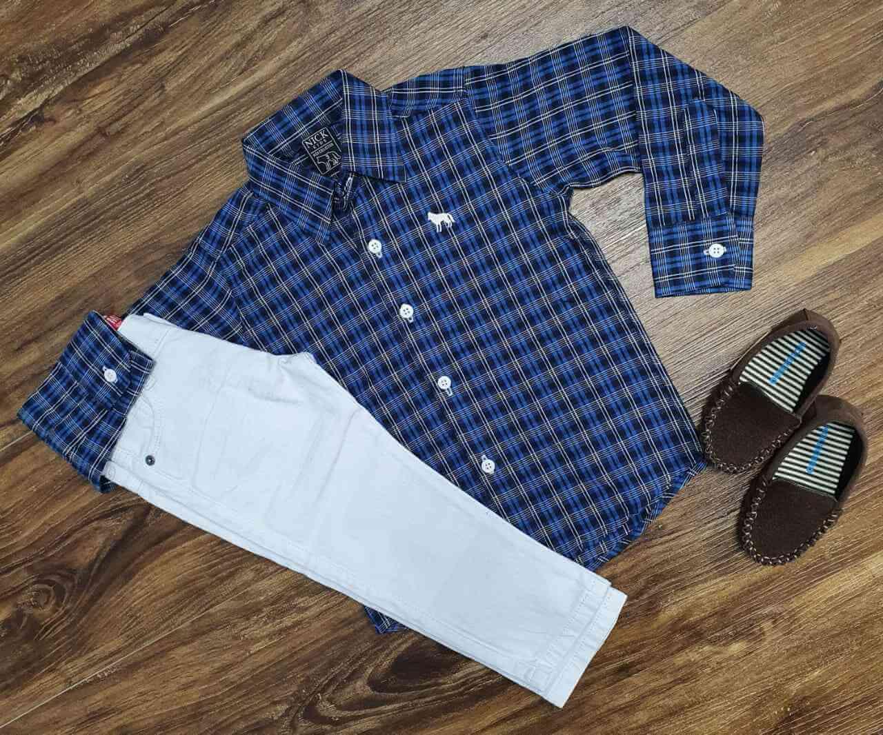 Camisa Xadrez com Calça Jeans Infantil