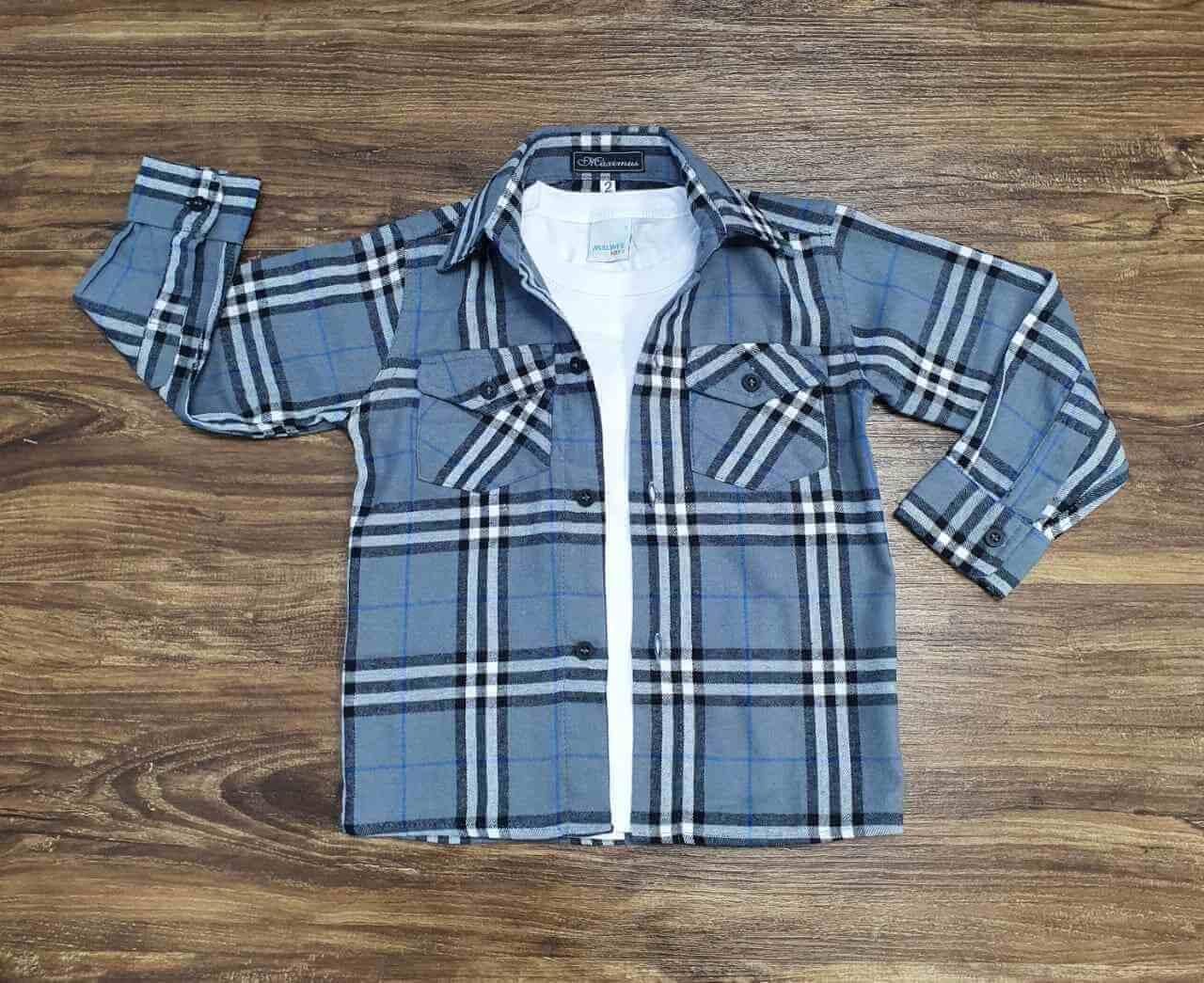 Camisa Xadrez com Camiseta Infantil