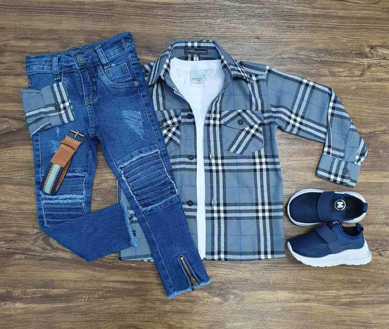 Camisa Xadrez mais Camiseta com Calça Infantil