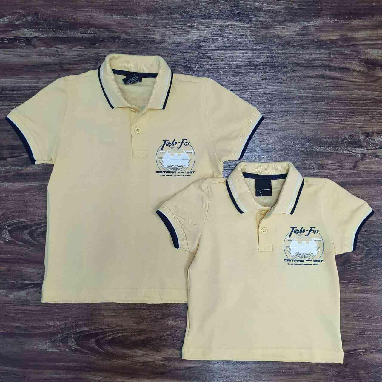 Camisa Polo Amarela Camaro Pai e Filho (a)