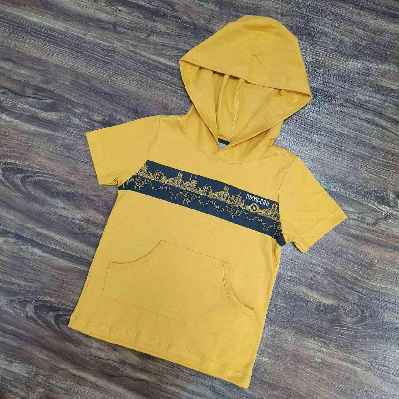 Camiseta Amarela com Capuz Infantil