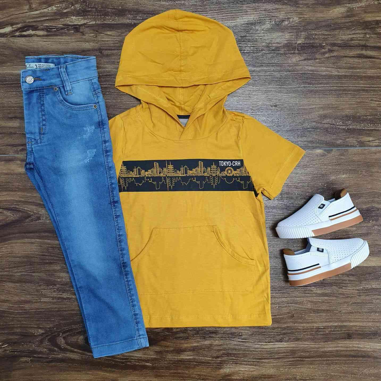 Camiseta Amarela com Capuz mais Calça Jeans Infantil